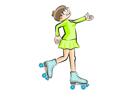 Woman on roller skates. Isolated on white background. Conceptual vector illustration Illustration