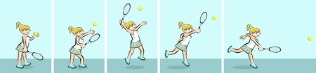 Girl playing tennis - Set of 5 illustrations. Conceptual illustration about female tennis