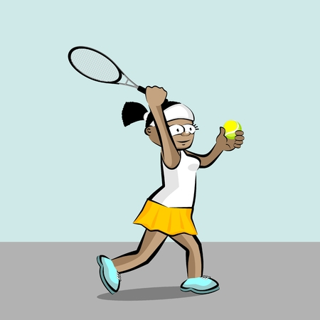 Cool Girl playing tennis. Conceptual illustration about female tennis