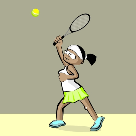 Girl playing tennis. Conceptual illustration about female tennis on dark gray presentation. Illustration