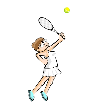Isolated Girl playing tennis isolated on white. Conceptual illustration about female tennis Illustration