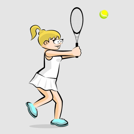 Girl playing tennis isolated on gray. Conceptual illustration about female tennis