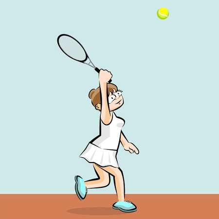 Pretty Girl playing tennis. Conceptual illustration about female tennis