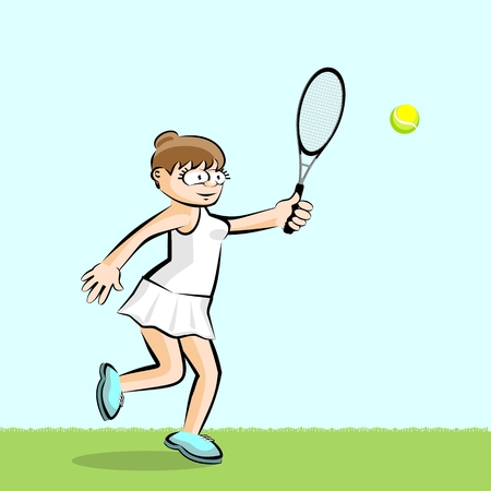 Girl playing tennis on light green. Conceptual illustration about female tennis Illustration