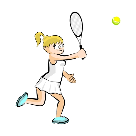 Girl playing tennis isolated on white. Conceptual illustration about female tennis Illustration