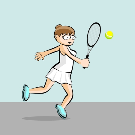 Girl on white playing tennis on blue background. Conceptual illustration about female tennis