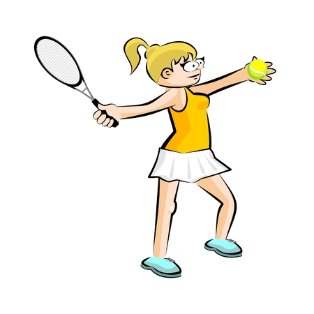Girl on yellow playing tennis isolated on white. Conceptual illustration about female tennis Illustration