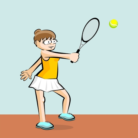 Girl on yelloww playing tennis on blue background. Conceptual illustration about female tennis Illustration