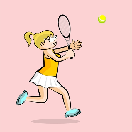Girl playing tennis on pink background. Conceptual illustration about female tennis