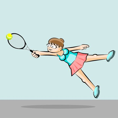 Girl playing tennis. Conceptual illustration about female tennis Illustration
