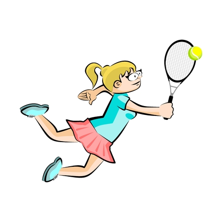 Girl on red skirt playing tennis isolated on white. Conceptual illustration about female tennis
