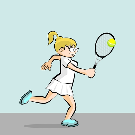 Blonde playing tennis. Conceptual illustration about female tennis