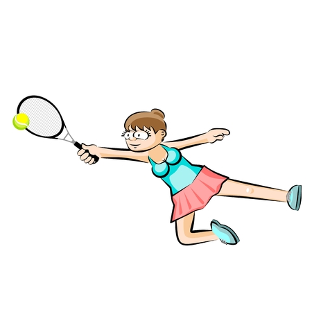 Girl flying while playing tennis isolated on white. Conceptual illustration about female tennis