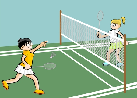 Women playing badminton. Conceptual sport illustration.