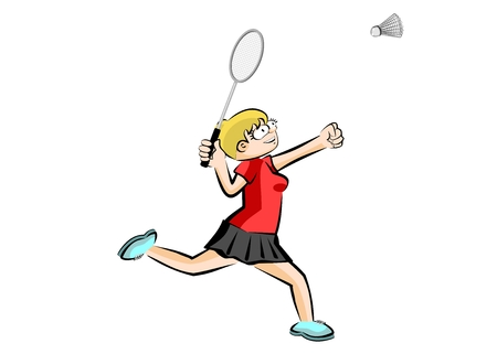 Woman playing badminton - isolated. Conceptual sport illustration.