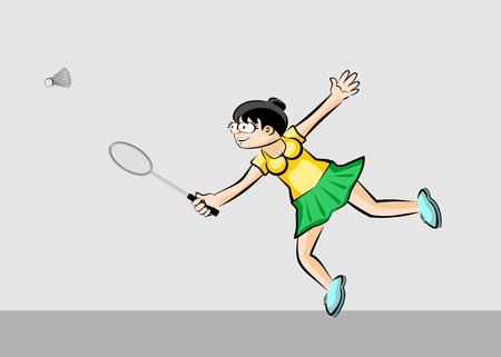 shuttlecock: Woman playing badminton. Conceptual sport illustration. Illustration