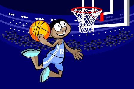 Basketball player in the stadium. Conceptual vector illustration.