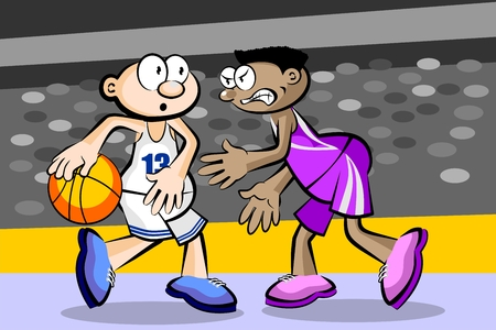 Two basketball players at the stadium. Conceptual vector illustration.