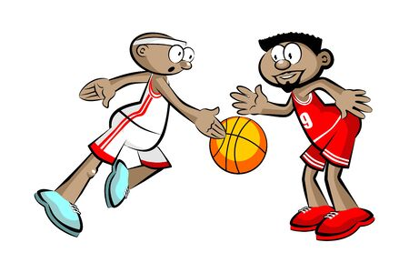 Two Basketball Players isolated over white. Conceptual vector illustration