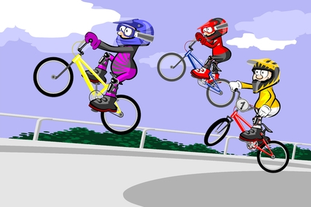 BMX riders competing in the child class. Conceptual extreme vector illustration. Çizim