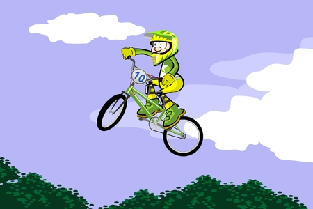 BMX rider jumping and flying. Conceptual extreme vector illustration. Çizim