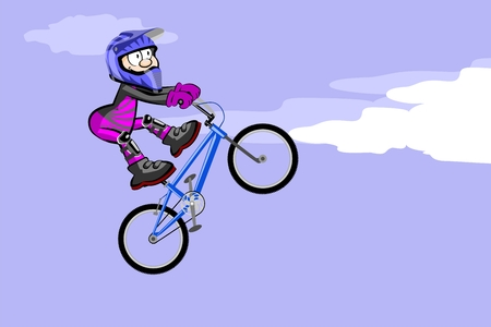 BMX rider jumping and flying. Conceptual extreme vector illustration. Illustration