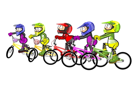 BMX riders isolated over white. Conceptual extreme vector illustration.