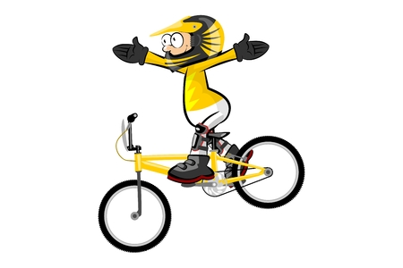 BMX rider isolated over white. Conceptual extreme vector illustration.