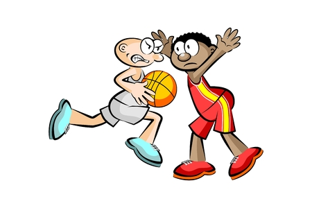 Two Basketball players isolated over white. Conceptual vector illustration. Illustration