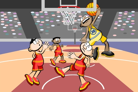 Four basketball players at the stadium. Conceptual vector illustration.