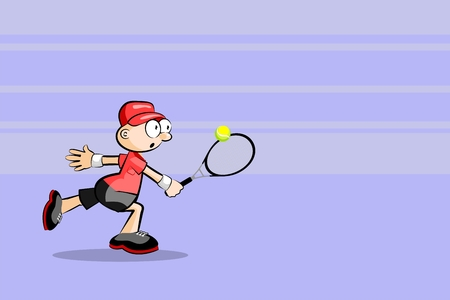Tennis player with a racket - Cartoon Style. Conceptual vector illustration. Illustration
