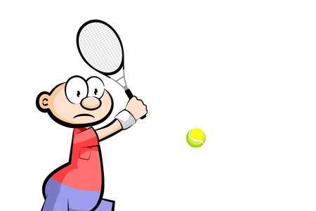 Young Boy playing tennis with a racket - Cartoon style isolated on white