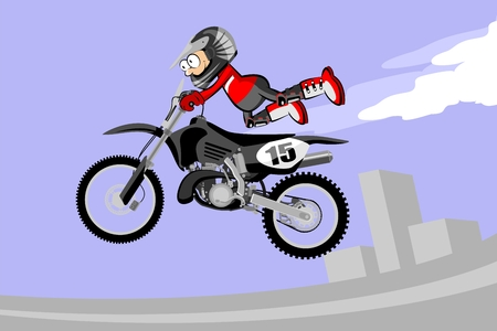 Motocross rider performing a high jump. Cartoon style. Conceptual vector illustration about Motocross Sport.