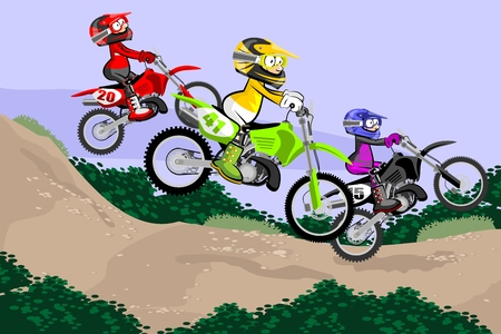 Motocross Racer in dust track. Cartoon Style. Conceptual vector illustration about Motocross sport.Motocross Racer in dust track. Cartoon Style