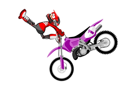 Motocross rider isolated over white backgrorund . Cartoon style. Conceptual illustration about motocross sport.
