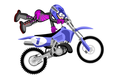 Motocross rider isolated over white backgrorund . Cartoon style. Conceptual illustration about motocross sport. Vector Illustration