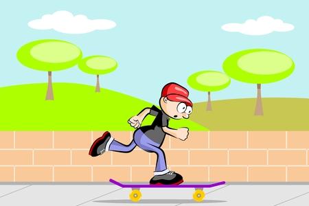 A kid on skateboard. Conceptual vector illustration. Illustration