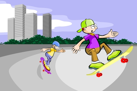 Teenage boy practicing extreme skateboarding in the city. Conceptual vector illustration
