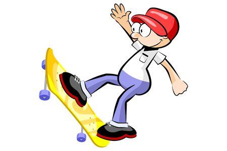 Teen Boy enjoying his skateboard. Isolated on white. Conceptual vector illustration.