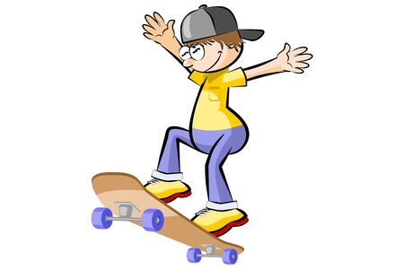 Teenager on skateboard isolated on white background. Conceptual vector illustration.