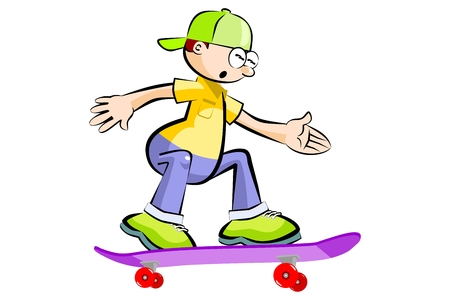 Kid on skatebard isolated on white background. Conceptual vector illustration.