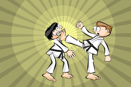 offensive: Karate combat. Conceptual image. Vector illustration. Illustration
