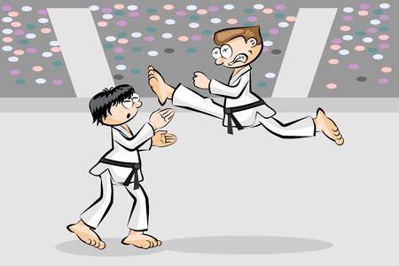 Karate combat. Conceptual image. Vector illustration. Illustration