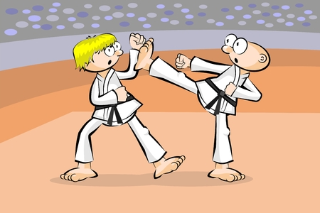 offensive: Two karate fighters. Conceptual vector illustration about martial arts.
