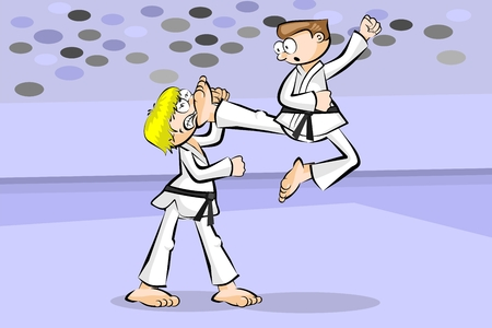 Two karate fighters. Conceptual vector illustration about martial arts.