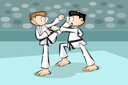 expertise: Two karate fighters. Conceptual vector illustration about martial arts.