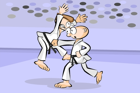 Two men fighting karate. Conceptual vector illustration about martial arts.