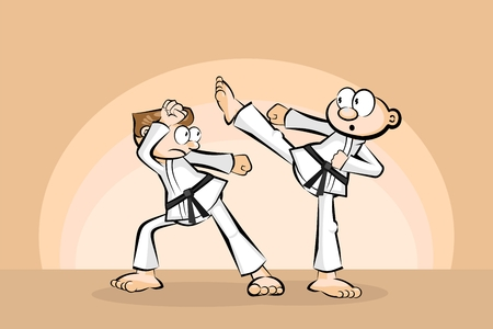 Two men in combat fighting karate. Conceptual vector illustration about martial arts. Illustration