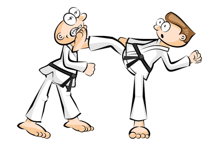 offensive: Two men in Show karate fight isolated on white. Conceptual vector illustration about martial arts. Illustration