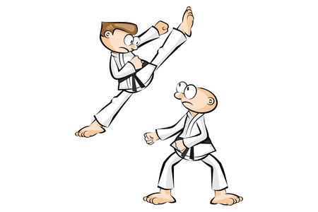expertise: Two men in Show karate fight isolated on white. Conceptual vector illustration about martial arts. Illustration